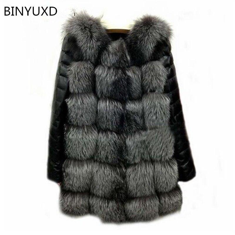 Binyuxd Новинка 2017 года Высокое качество высокая имитация Silver Fox Мех животных рукава пальто ПУ теплое зимнее пальто лиса пальто большие размеры...