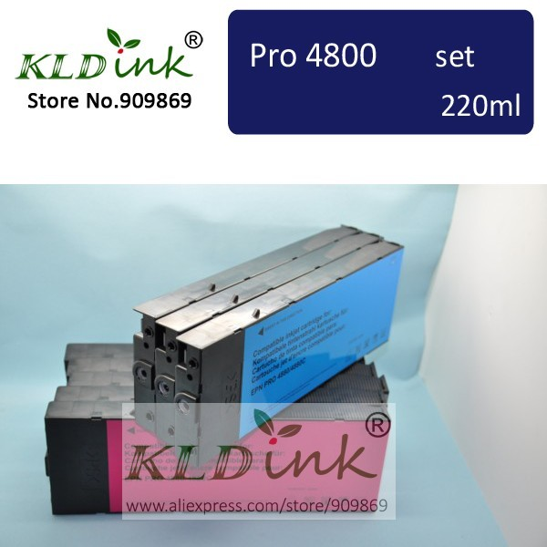 [KLD Ink] Compatible ink cartridge for Stylus Pro 4800 Printer  ( 9 cartridges with chip and Dye ink ) t5971 700ml refill ink cartridge with chip resetter for epson stylus pro 7700 9700 7710 printer for epson t5971 t5974 t5978