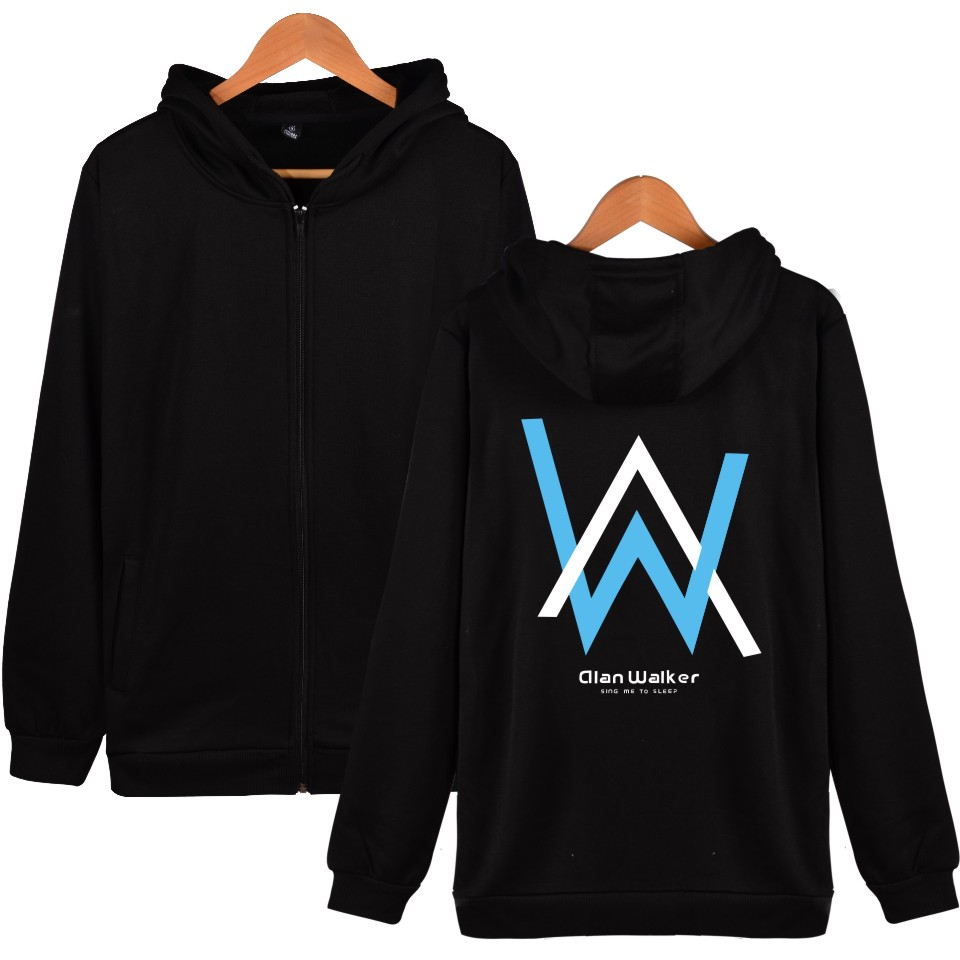 Popular Alan Walker Singer Hooded Sweatshirts Men Zipper Hoodies Winter Funny Hoodies Men Hip Hop Famous