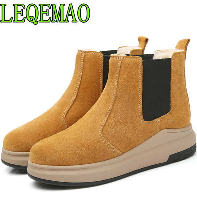 2018 winter ankle boots female cow suede leather platform comfortable women sneakers fashion top quality