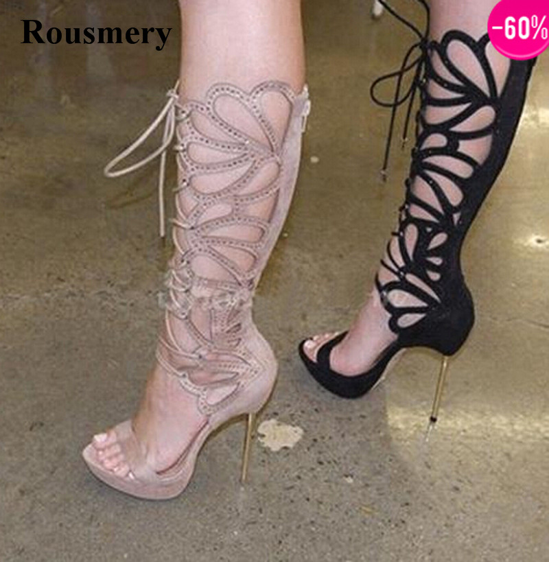 Women Charming Design Open Toe Lace-up Rhinestone Knee High Gladiator Boots Stiletto Heel Sandal Boots Dress Boots charming high waist yellow lace dress for women