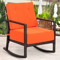 Patio Rattan Rocking Chair Rocker Armchair with Cushions Orange Rattan Steel Patio Furniture Outdoor Chair HW58602