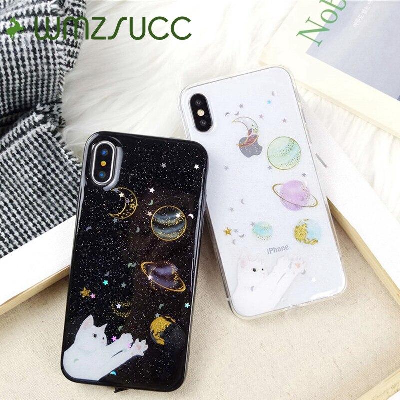 WMZSUCC Universum Planeten Mond Erde Mars Katze Muster TPU Weiche Glitter telefon Fall für Apple iPhone X 6 6 s 7 8 Plus