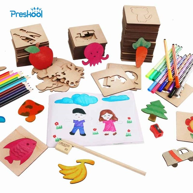 Preskool Baby Toy For Children DIY Painting Template Fun Graffiti Coloring Game Early Education Toy