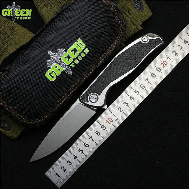 Vert épine 95 Flipper couteau pliant M390 lame TC4 Titane CF 3D poignée camping en plein air chasse poche fruits Couteaux EDC outils
