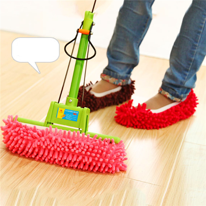 How To Clean Bathroom Floor Without Mop: 1pcs Cute Slipper Lazy Shoes Cover Dust House Bathroom