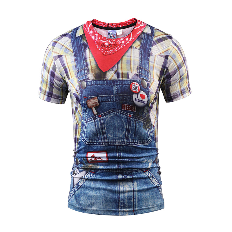 Mr.1991INC New Fashion 3D T-shirt Print Blue Cowboy Fake Plaid Shirts Jeans Stylish T Shirt Men/Women Summer Teens Boy Tops Tees