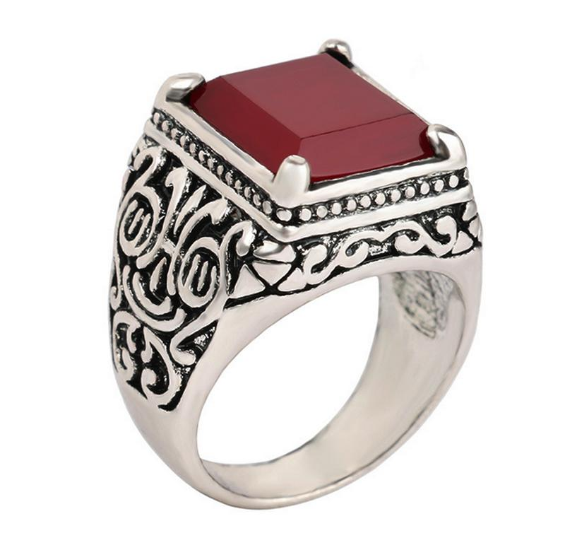 NFS Fashion 2017 New Red Stone Jewelry Islam Ring For Men Silver