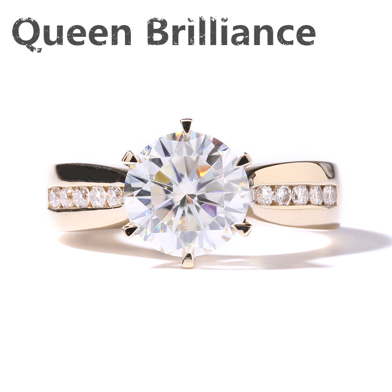 Solid 14K 585 Yellow Gold TRANSGEM Brand 2 Carat Ct DEF Colorless Clear Moissanite Wedding