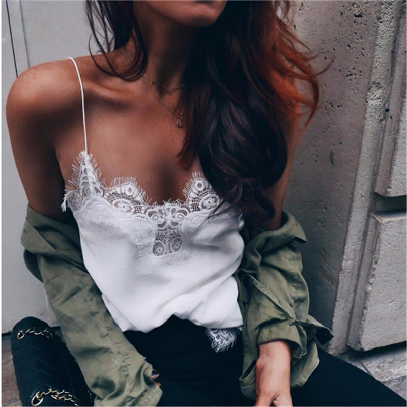 Women Tops Sexy Camisoles Lace V-neck Strap Camis Vest Tank Top Female Clothing