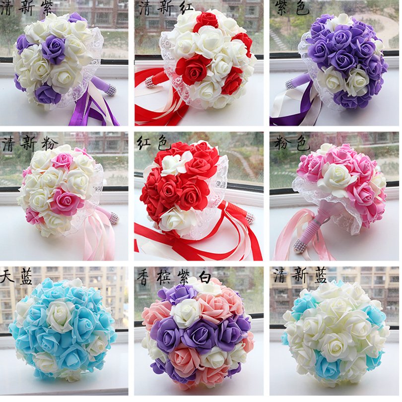 en stock romntica boda de dama de honor rosa multicolor flores ramos de novia