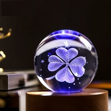 Luxury 3D Laser Engraved Clover Crystal Ball Quartz Glass Sphere Miniatures Gifts Christmas Present Accept Custom Photo