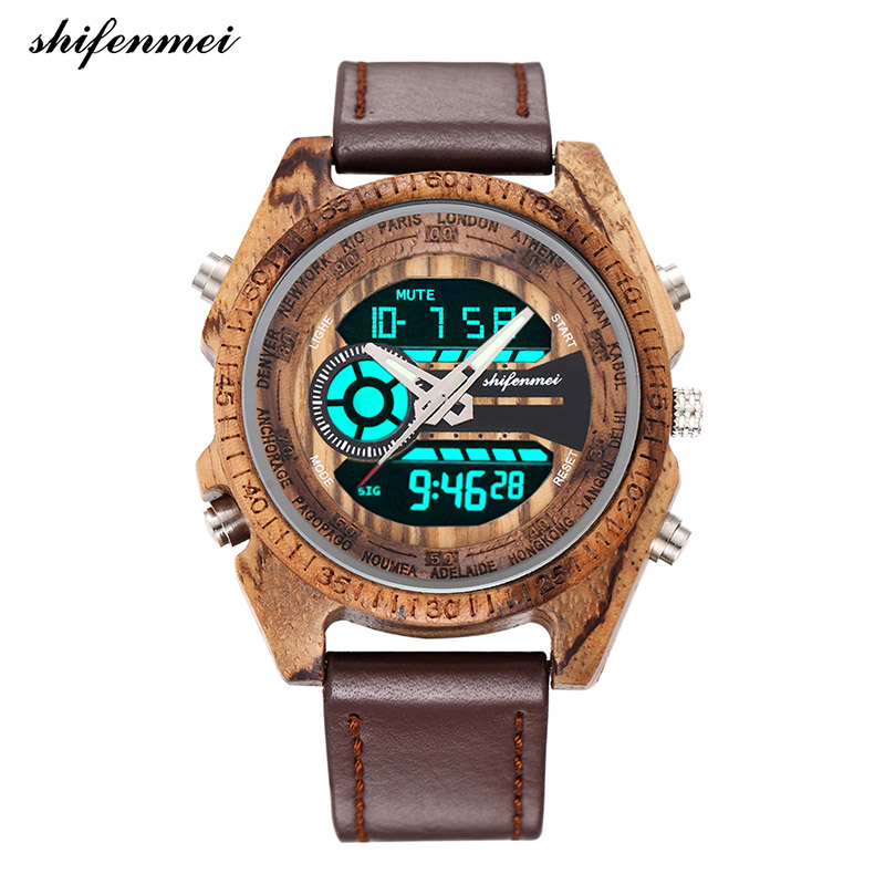 Shifenmei 2139L Wooden Watches Digital Men's Watch LED Double Display Luminous Hand Engraved Wood Watch Wristband Male Female