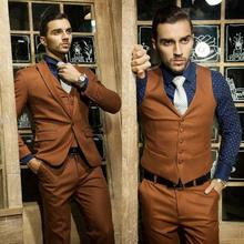 2017 Latest Coat Pant Designs Brown Men Wedding Suits Groom Tuxedo Slim Fit Skinny 3 Piece Custom Prom Blazer Terno Masculino D5