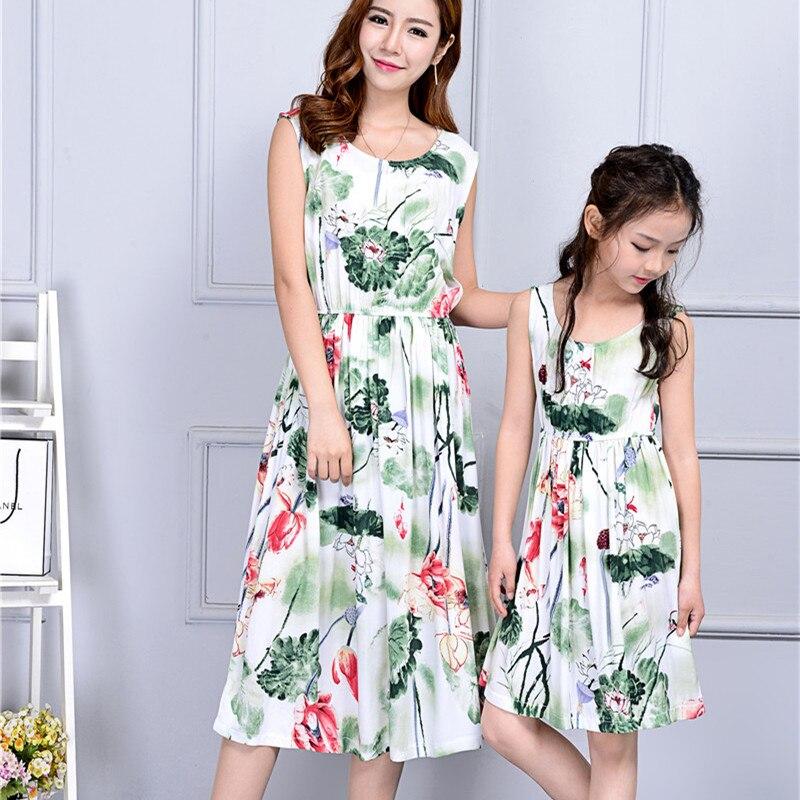Лето с круглым вырезом платье для мамы и дочки Повседневное Boho мама Обувь для девочек Платья для женщин Одежда для мамы и меня пляж печати ... ...