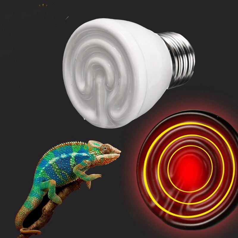 Pet Infrared Ceramic Emitter Heat Lamp Bulb E27 Light Bulbs Lighting 45mm 25/40/50/60/75/100W for Reptile Pet Brooder 110/220V