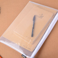 10 Pcs Transparent Grid White Color Plastic Folder Wallet A4 Document Zipper Bags for Business Filing Products Deli
