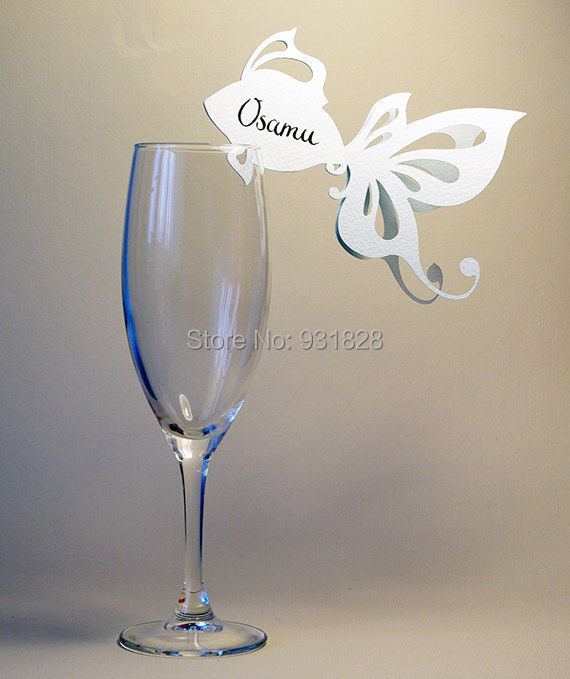 cheap place cards sea themed wedding wine glass decor golden fish