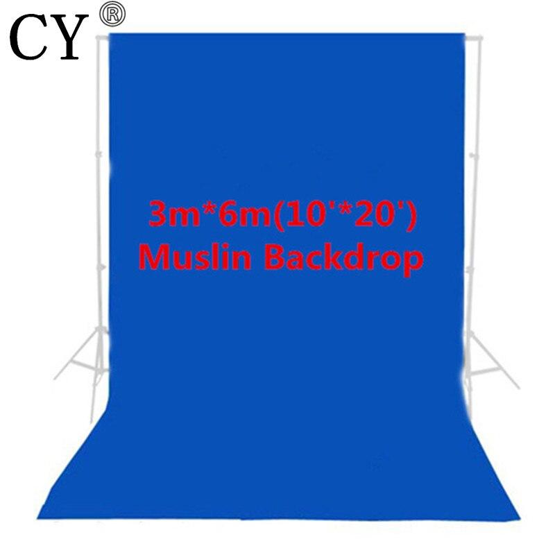 CY Photo Studio 100% coton 10ft x 20ft 3 m x 6 m solide bleu mousseline toile de fond photographie arrière-plan