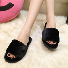 Womens Ladies Slip On Sliders Fluffy Faux Fur Flat Slipper Flip Flop Sandal(China)