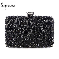 Crystal Evening Bag Beaded Day Clutches Lady Wedding Purse Rhinestones Handbags Silver Black Evening Clutch Bags for Women