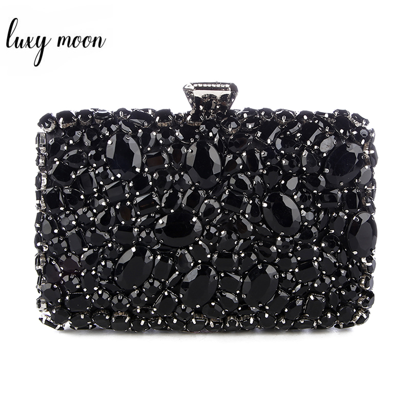 Crystal Evening Bag Beaded Day Clutches Lady Wedding Purse Rhinestones Handbags Silver Black Evening Clutch Bags for Women-in Clutches from Luggage & Bags    1