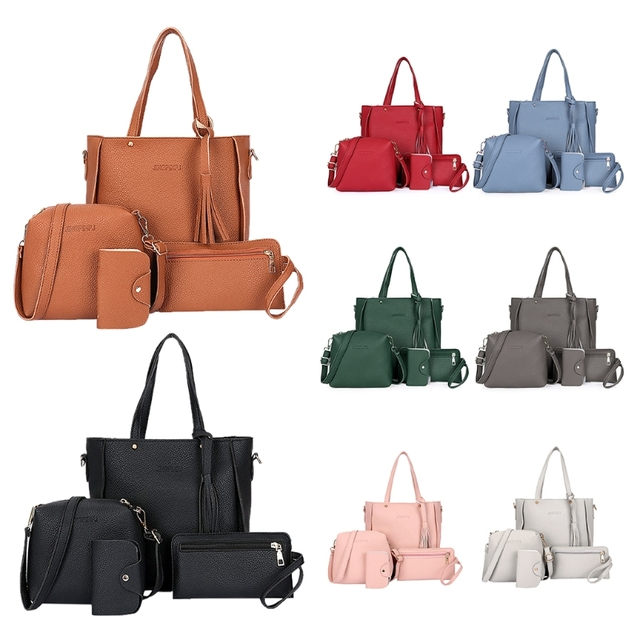 03c914c2bfa 2018 Fashion PU Leather Women s Shoulderbag +Casual Tote + Lady Handbag  +Card Coin Bags Purse Messenger Satchel 4pcs set-in Shoulder Bags from  Luggage ...