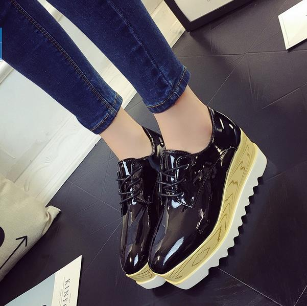 British Women Oxfords Bling Gold Silver Stars Creepers Lace-Up Flats Spring Autumn Wedges Platform Shoes Woman phyanic gold silver wedges sandals 2017 new platform casual shoes woman summer buckle creepers bling flats shoes phy4040
