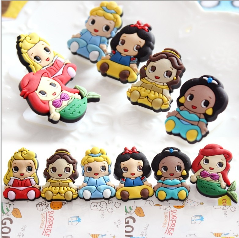 Cartoon PVC Snow White Ariel Bale Princess Bookmark Spring Clips Student Stationery Memo Clip Kids Toy Gift  Paper Clip