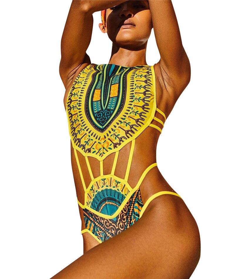 5a126462b8154 Ein Stück Frauen Afrikanischen Stil Badeanzug Retro Druck Siamese Hohe  Taille Bademode Body Sexy High Cut Badeanzug in Ein Stück Frauen  Afrikanischen Stil ...