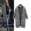 Autumn Sweaters For Woman 2016 Long Knitted Cardigans Christmas Sweater Gray Hooded Long Sleeve Poncho Coats Knitwear Feminino