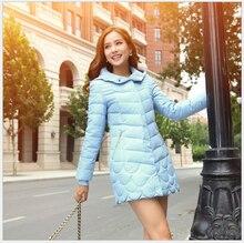 Europe New Fashion Women White duck down Down jacket Elegant Hooded Slim Big yards Coat Thick Super Warm Medium long Coat G2183