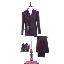 New   Tweed Red Stripes designs Men suit Blazers Retro Slim fit wedding suits for men Tuxedos Jacket pants+Vest