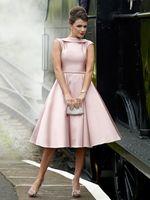 pink satin crystal short tutu Prom Dresses 2018 vestido marsala paolo sebastian turquoise party Bridesmaid Dresses