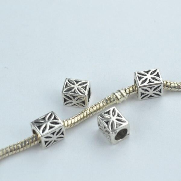 20 Pcs Alloy Beads Square Shape Flower Charm Tibetan Silver Diy