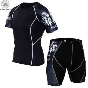 Men Sport Quick Dry Sets 3D Print Compression Suits Jerseys Base Layer Crossfit Fitness Brand MMA Sports Wear Tights Trousers