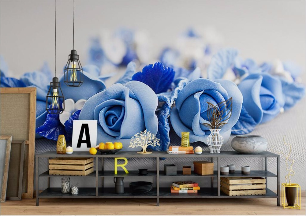 3D Wallpaper Home Decor Wallpapers HD Blue Rose flowers beautiful minimalist modern Nordic TV Sofa background