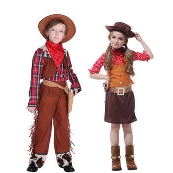 Umorden pourim carnaval fête Halloween Cowboy Costumes garçons Cowgirl Costume Cosplay robe fantaisie robes
