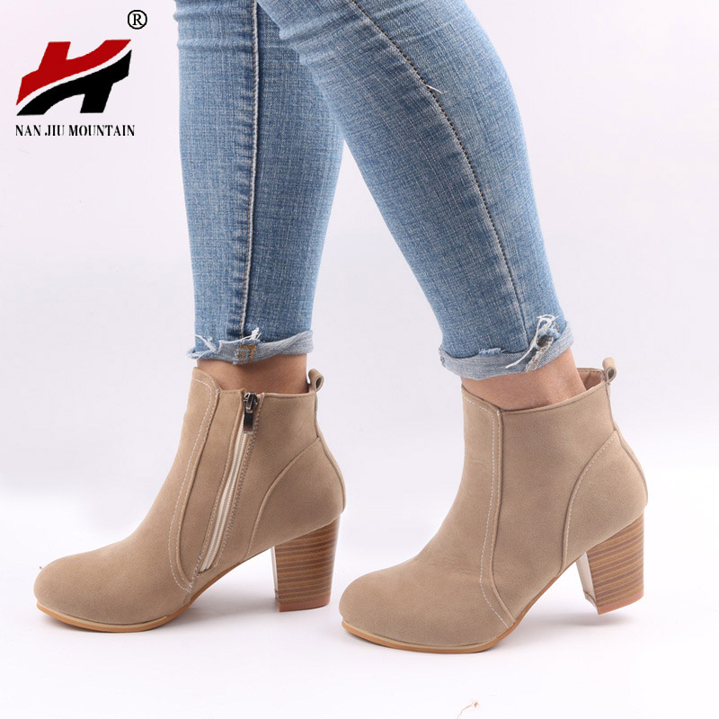 2017 NEW Autumn Winter Short Cylinder Boots With High Heel Boots Shoes Martin Boots Women Ankle Boots With Thick Scrub