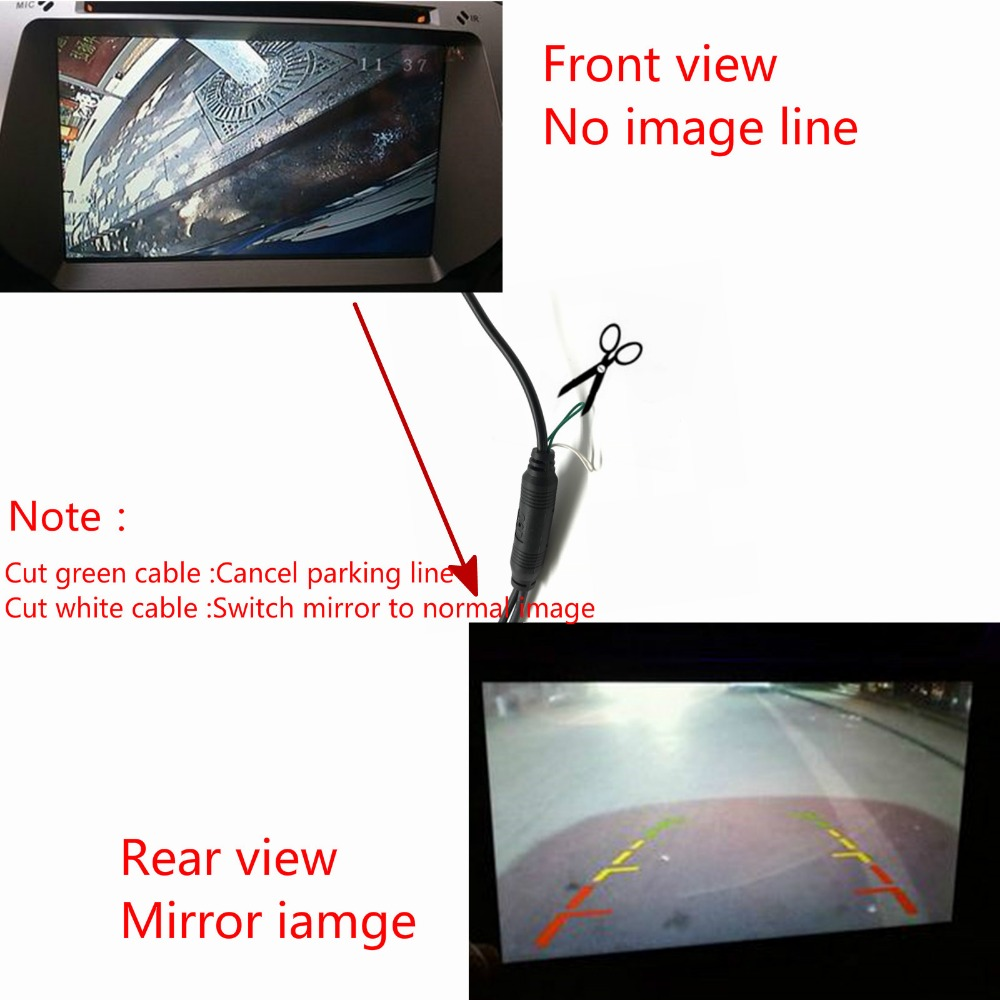 Leemsp CCD Car Rear View Camera Backup Reversing Front Camera With or Without Rearview Side Mirror HD Color Image Convert Line in Vehicle Camera from Automobiles Motorcycles