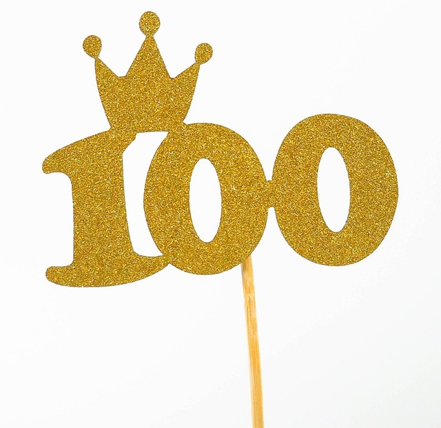1pcs 100 Days Birthday Crown Cake Flags Gold Silver Cupcake Topper For Family Party Baking Decoration Supplies