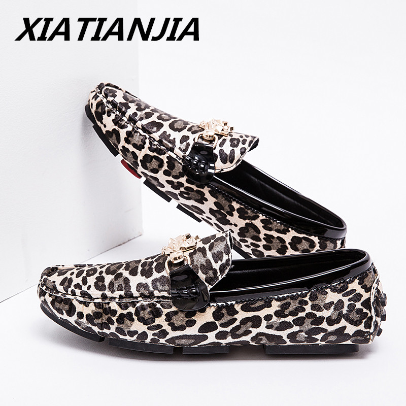 Summer Large Size Peas Men Shoes Male Leopard Gold Silver Professional Leather Shoes Men Loafers Sneakers Zapatos De Hombre