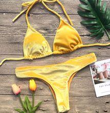 2019 Velvet Bikini Set Women Swimsuit Monokini Bodysuit Swimming Suit Bathing Suits Swim Halter Thong Beach Swimwear