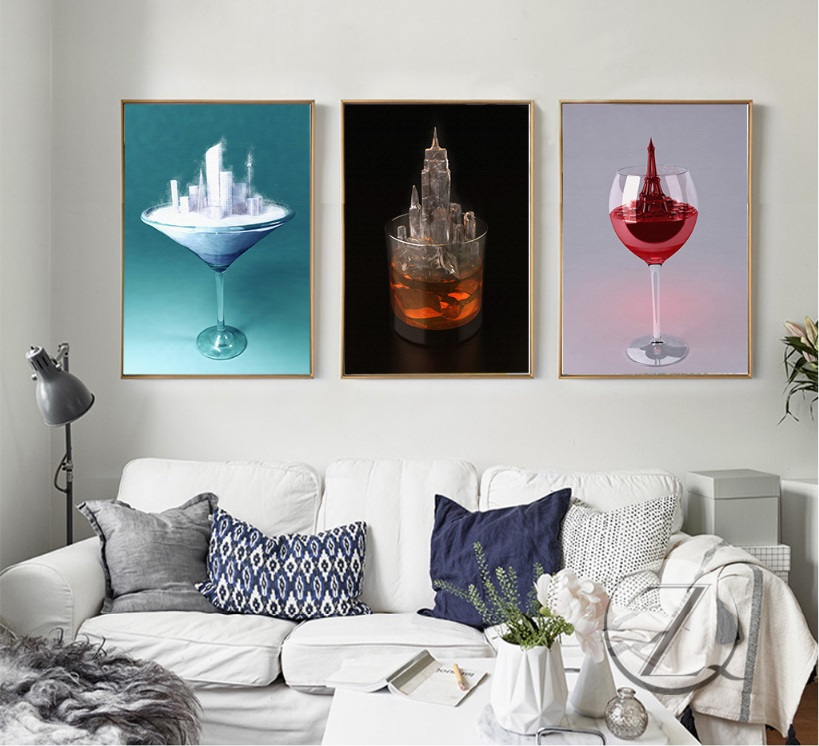 Nordic Creative Glass Building 3 Pieces Decorative Painting Wall Art Print  Picture Canvas Painting For Living Room No Framed In Painting U0026 Calligraphy  From ...