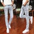 Jeans hombres 2016 strech flaco impreso larga para hombre de mezclilla de buena calidad jeans slim fit casual blanco sexy tamaño 28-36 hombres #8126