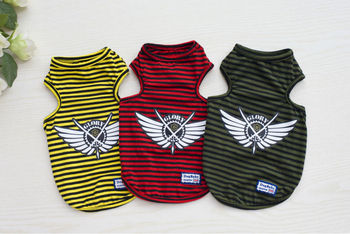 FY12 Free shipping Summer Pet dog Shirt Vest clothes Fashion Puppy dog Cats Boy Breathable Striped Vest T-Shirts for