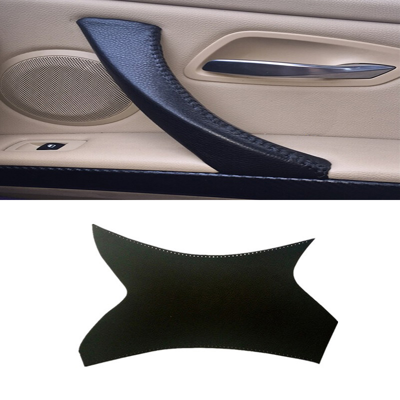 Carbon Texture Car Interior Door Handle Cover Hand Sewing Door Panel Pull Trim For BMW 3 Series E90 E91 E92 E93 2005 06 07-2012 image