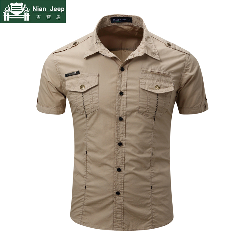 Brand 2018 New Mens Shirt Cargo Military Style Shirt Summer Casual Solid 100% Cotton Mens Shirts Size S-3XL camisa masculina