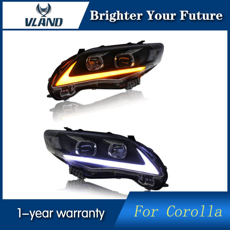 VLAND for Toyota Corolla Headlights 2011 2012 2013 LED DRL Projector Headlights Angel Eyes Assembly