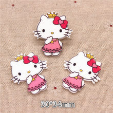 10pcs 30*34mm Kawaii Planar Resin Cat with Crown Flatback Cabochon DIY Craft Accessory Home Garden Decoration Accessories(China)